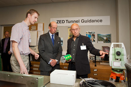 HRH The Duke of Kent (centre) with Zed Sales Manager Colin Bent (right) and Project Engineer Mikael Simonssen
