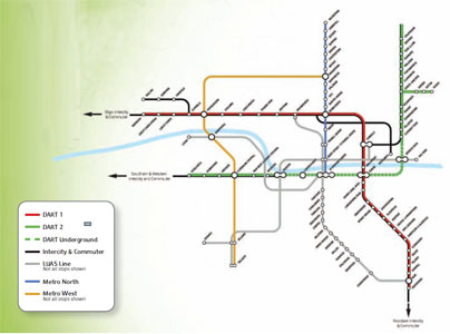 Fig 3. Dublin's existing and planned rail networks