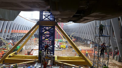 Construction of the oculus concourse