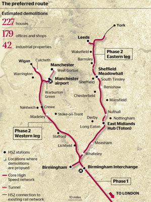 Fig 1. Detailed HS2 Phase 2 alignment announced