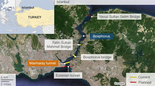 Plan of the existing, new and planned crossings of the Bosphorus