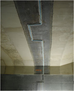 Detail of an expansion joint in the profile of the immersed tube highway tunnel