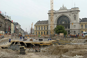 Metro station construction site at the Keleti station