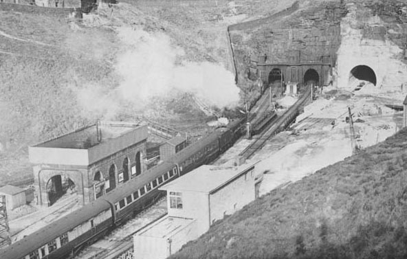 BR and Woodhead tunnel portals c.1954