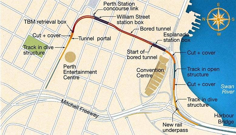 Fig 1. The route of the new Mandurah rail line service in Perth incorporates 2km of tunnelled and subsurface alignment