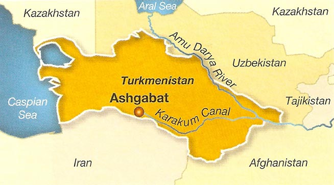 Fig 1. Location of Ashgabat within Turkmenistan