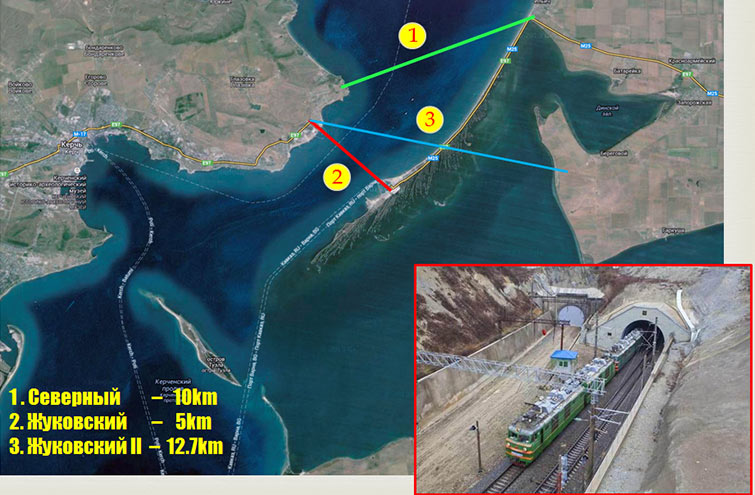 Fig 3. Three leading tunnel options for crossing the Kerch Strait