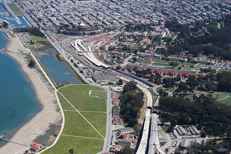 Main structures of the Presidio Parkway project. The southbound Battery Tunnel (foreground) was constructed in Phase 1, along with the temporary bypass of the Main Post tunnels, to keep traffic moving during construction of the remaining tunnels