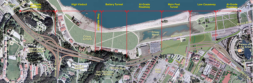 Main structures of the Presidio Parkway project