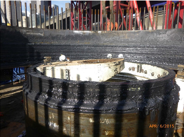 Damaged center pipe of the TBM's cutterhead assembly