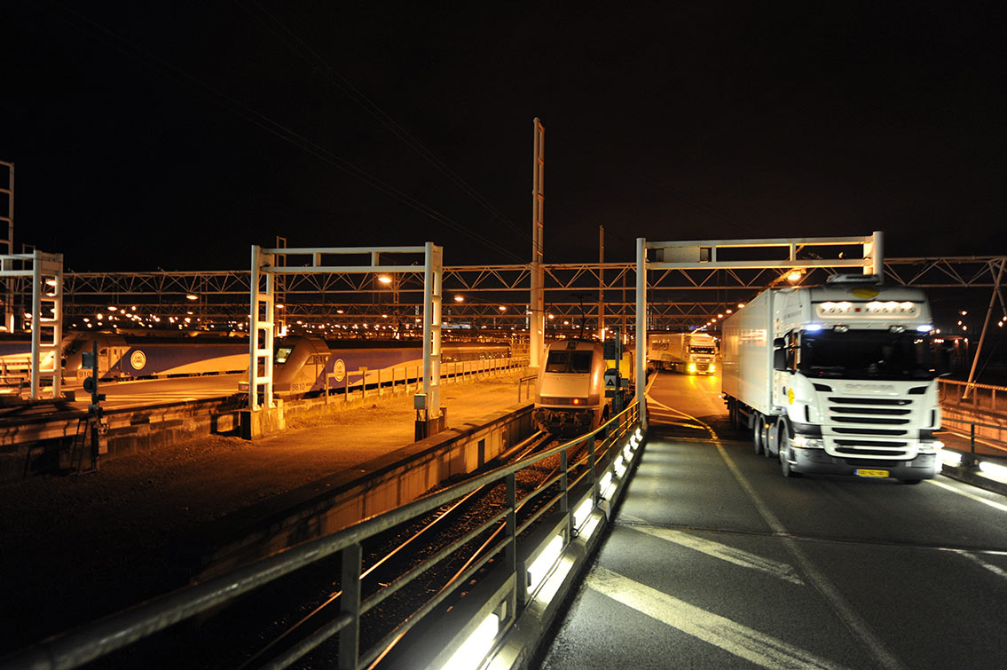 The loading platforms for Eurotunnel truck shuttle trains