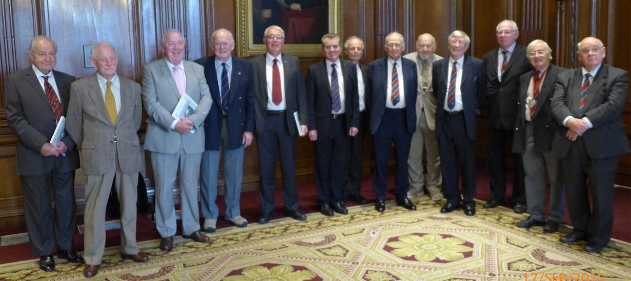James Clark Medal recipients (and year of award) at the 2015 celebration luncheon (from left): John Bartlett OBE (1994), Denis Lawrenson (2000), Hugh Doherty (1996), Alastair Biggart OBE (1991), Dave Court (2012), Alan Dyke (2006), Andy Sindall (2013), Oliver Bevan (1992), Colin Mackenzie (1999), Maurice Gooderham (2005), Roger Remmington (1993), Rodney Craig (2004), and Myles O'Reilly (1998)
