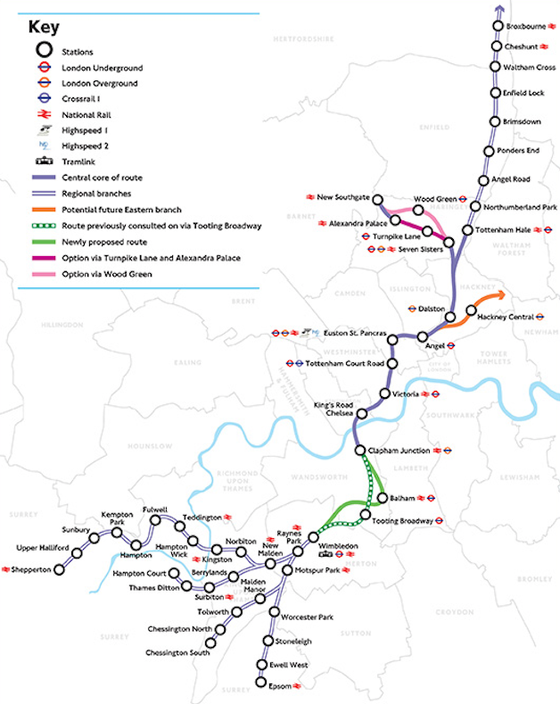 Fig 1. Latest proposed route of Crossrail 2