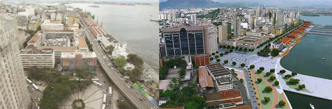 Transformation of the city waterfront with replacement of the elevated highway underground as part of the Porto Maravilha urban renewal project
