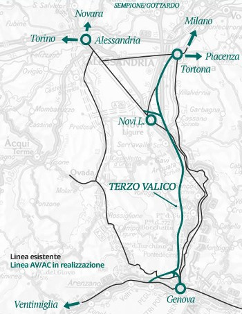 The 54km long project links Italian cities Milan with Genoa on the Mediterranean coast