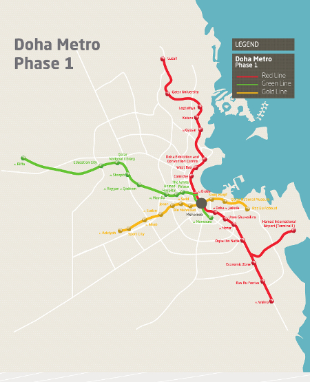 Fig 1. Four lines of the 72km Doha Metro Phase 1 (56km underground)