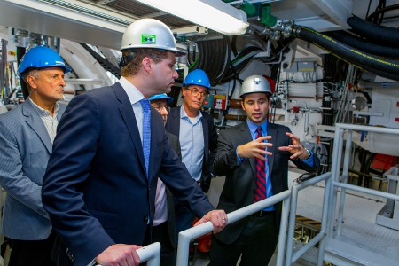 Dr Mauricio Rodas (front left, Mayor of Quito) talking to Martin-Devid Herrenknecht, Eng, at the technical acceptance of the two EPB shields in Schwanau <br><br>