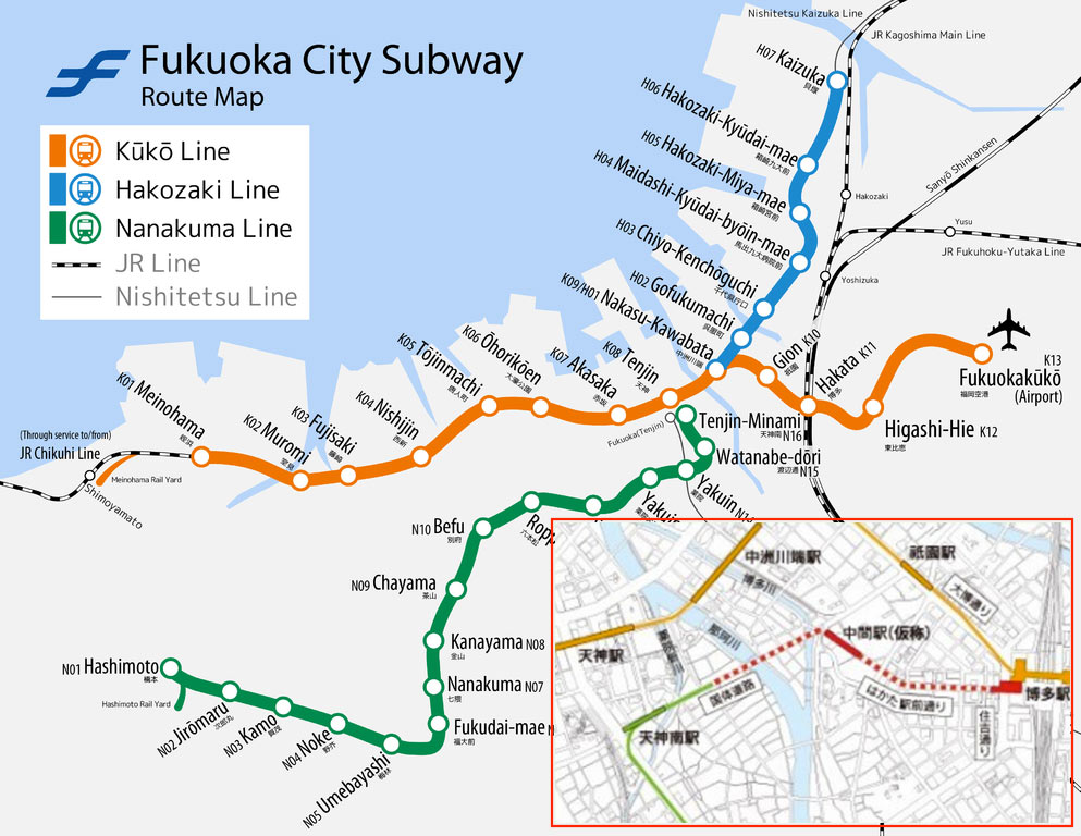 Fig 1. Fukuoka subway network and its central underground extension