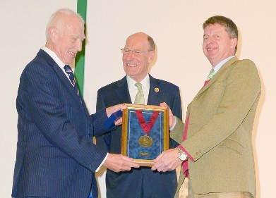 Doug Allenby (left) is presented with his James Clark Medal by Sir John Armitt, current President of the ICE (centre), and Ivor Thomas, BTS Vice Chair (right)