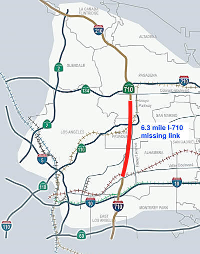 Fig 1. Route of the missing I-710 freeway