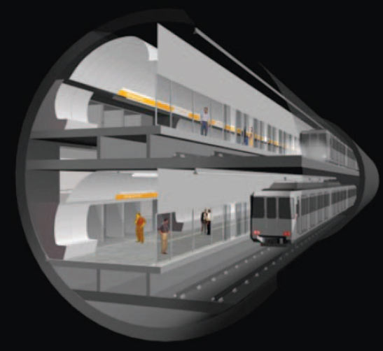 Fig 2. Single-tube, double-track, TBM tunnel with the platforms included at stations