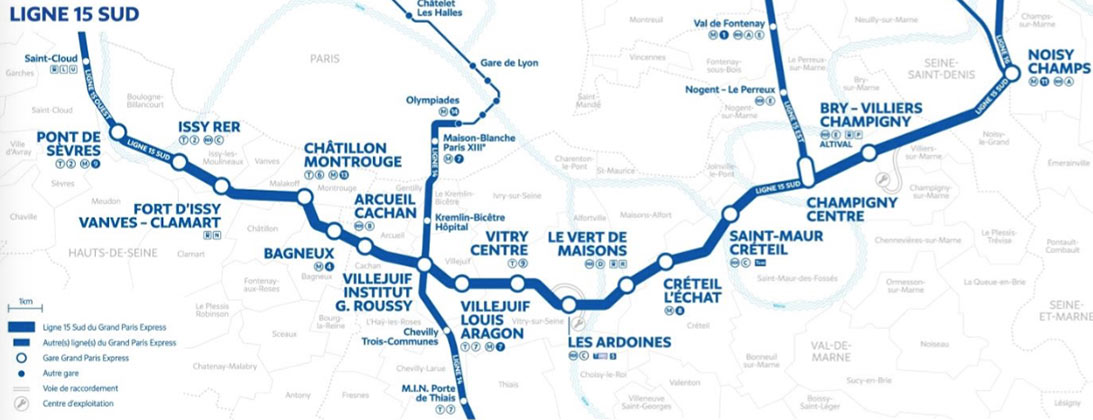 Fig 1. Route of the Grand Paris Line 15 South project