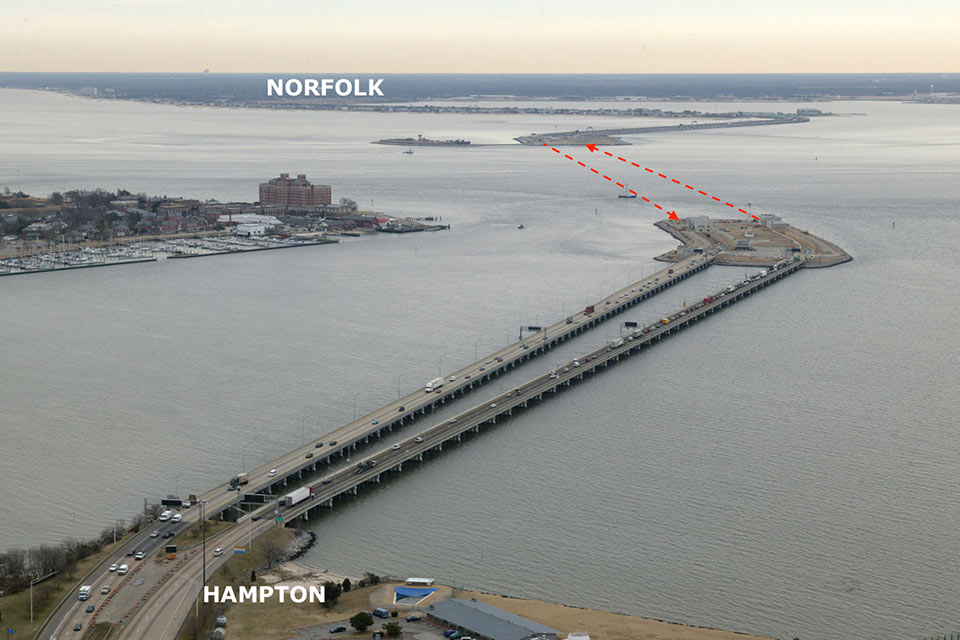Existing configuration of the Hampton Roads Bridge-Tunnel Bay crossing