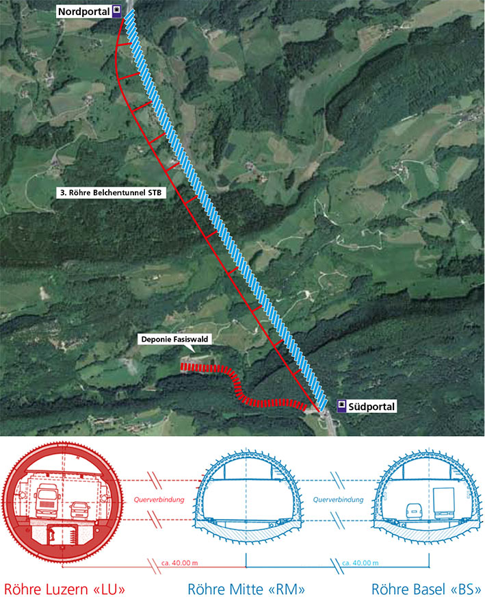 Fig 1. Belchen road tunnel route with the new bore on west left side