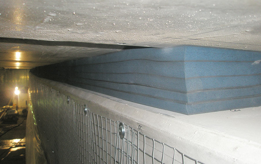 Actifoam Ultra sandwich seal between the internal precast wall panels and ceiling of the cut-and-cover tunnel