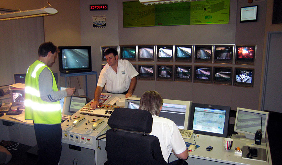 Control room of the undersea traffic crossing