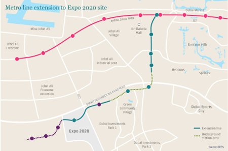 Fig 1. Dubai Metro will extend to the Expo 2020 site and to the new Dubai International Airport