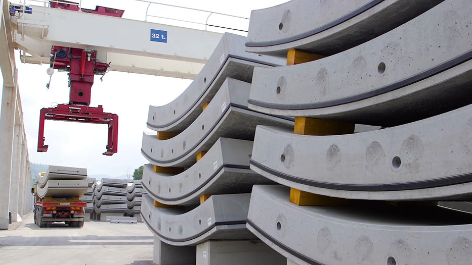 Segments prepared for building into the highway tunnel