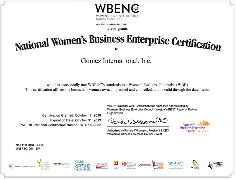 Gomez awarded WBE certificate