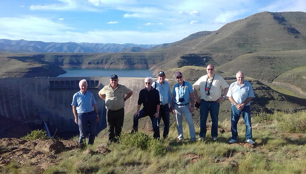Panel of engineering experts at Katse Dam (from left) John Sharp, Dean Brox, Clemente Curnis, David Lees, Ian Firth, Brian Sadden, David Powell (Palmi Johannesson absent)