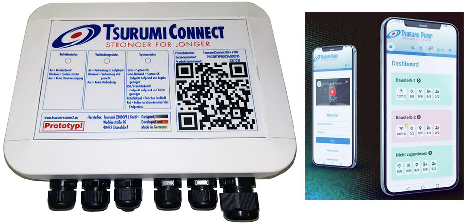Tsurumi Connect links electrical devices on site and an app (right) for control and analysis is included