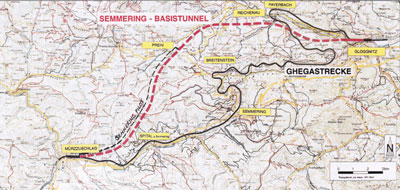 Plan of the Semmering main tunnel and its parallel pilot tunnel