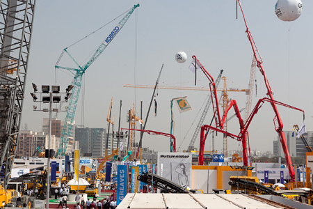 Visions of bauma Munich with a skyline crowded with booms