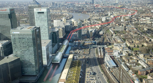Canary Wharf station has been designed to look like a ship in North Dock