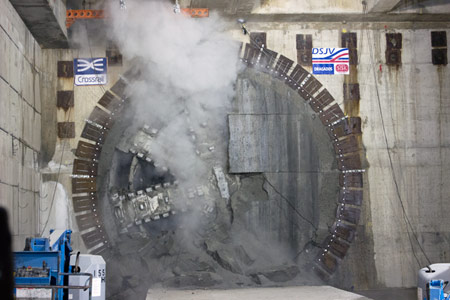 First Crossrail TBM breakthrough at Canary Wharf box station