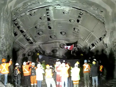 TBM's March connection with the grout tunnel