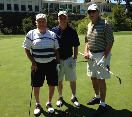 Bill Quick (right) with friends Jack Burke (left) and Brian Burke (centre) at the pre-Beaverdilly golf tournament in California just a month before he died