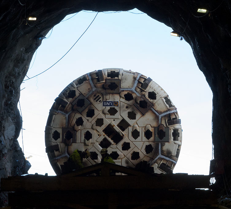 TBM from inside the starter tunnel, prior to launch (October 2013)