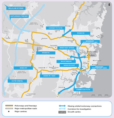 Gaps in Sydney's major traffic arteries